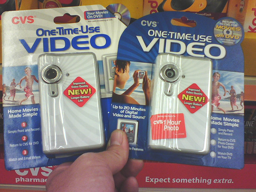 One-time-use video cameras from CVS (courtesy mobipic on Flickr CC)
